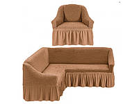 Чехлы на Угловой Диван и Кресло с Оборкой Универсальный Размер Набор 230, фото 1