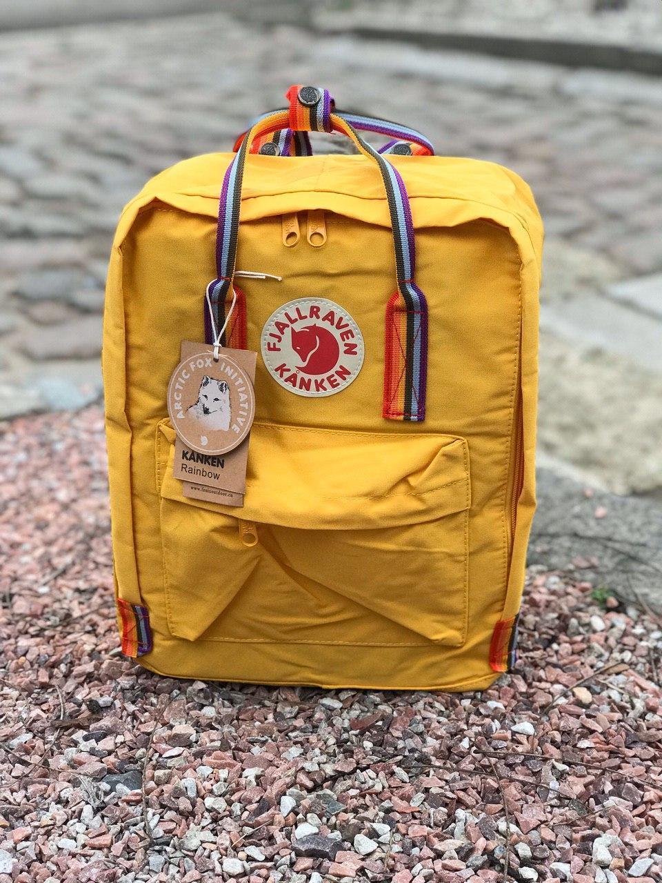 Городской Рюкзак Fjallraven Kanken Classic Rainbow Радужный 16 л Желтый ручка в радугу