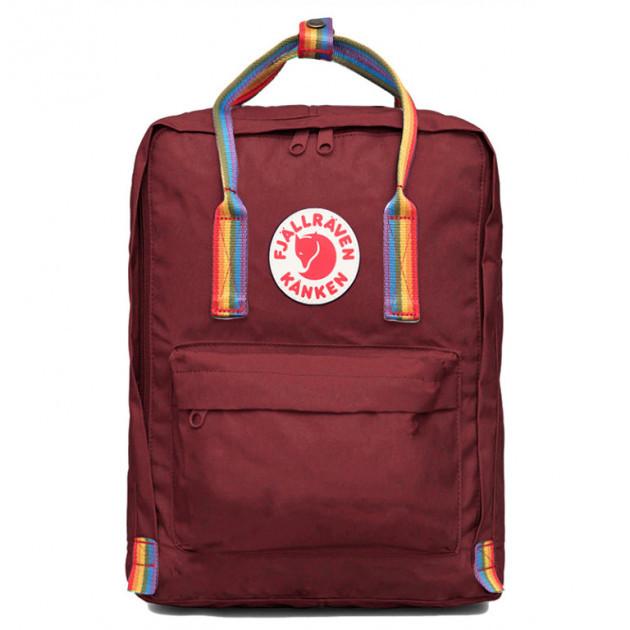 Городской Рюкзак Fjallraven Kanken Classic Rainbow Радужный 16 л Бордовый ручка в радугу
