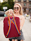 Городской Рюкзак Fjallraven Kanken Classic Rainbow Радужный 16 л Бордовый ручка в радугу, фото 3