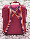Городской Рюкзак Fjallraven Kanken Classic Rainbow Радужный 16 л Бордовый ручка в радугу, фото 6