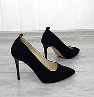 Замшеві туфлі човники на шпильці, фото 1