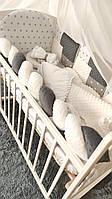"""Комплект детское постельное белье в кроватку """"Минки"""" с бортиками из подушек и косичкой"""