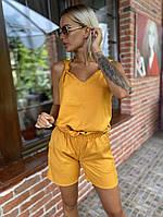 Костюм двойка женский летний Fashion 42-46 рр, черный, бежевый, кирпич и голубой