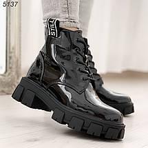 Ботинки женские лаковые черные демисезонные, фото 3