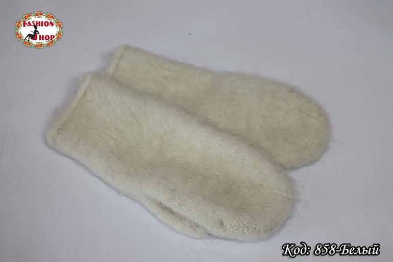 Женские белые пуховые варежки Вайлет