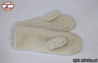 Женские белые пуховые варежки Вайлет, фото 3