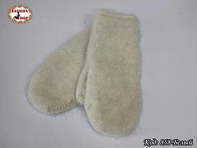 Женские белые пуховые варежки Вайлет, фото 2