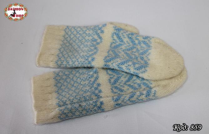 Женские шерстяные варежки Морозные узоры, фото 2