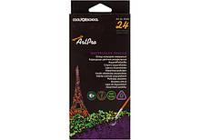 """Олівці кольорові професійні акварельні """"ArtPro"""", 24 кольору, трикутні"""