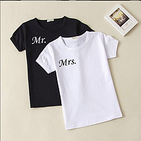 """Парные футболки с надписью для влюбленных """"Мистер/Мисcис."""""""