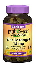 Цинк 15 мг, Смак Апельсина, EarthSweet Chewables, Bluebonnet Nutrition, 60 таблеток для розсмоктування