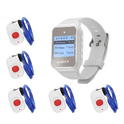 Система виклику медперсоналу RECS №26   кнопки виклику медсестри 5 шт + пейджер персоналу