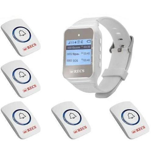 Система вызова медперсонала RECS №23   кнопки вызова медсестры 5 шт + пейджер персонала