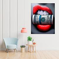 Картина на холсте Губы 30 на 40см Доллар