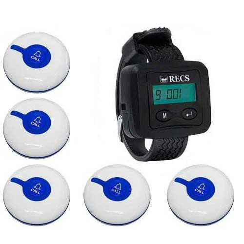 Система виклику медперсоналу RECS №48   кнопки виклику медсестри 5 шт + пейджер персоналу