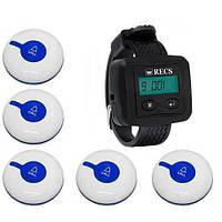 Система виклику медперсоналу RECS №48   кнопки виклику медсестри 5 шт + пейджер персоналу, фото 1