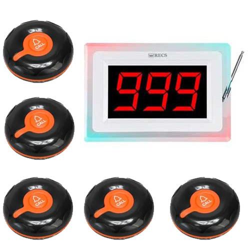 Система вызова официанта RECS №51   кнопки вызова официанта 5 шт + приемник вызовов