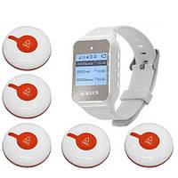 Система виклику медперсоналу RECS №45 | кнопки виклику медсестри 5 шт + пейджер персоналу, фото 1