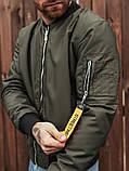 Мужской осенний бомбер BEZET Joker khaki'20, мужской бомбер хаки, фото 4