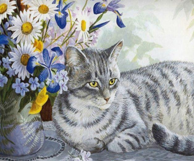 """Картина по номерам Y5146_O 40*50см """"Кошка"""" OPP (холст на раме с краск.кисти)"""