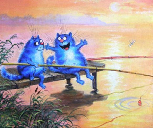 """Картина по номерам Y5101_O40*50см """"Коты рыбаки"""" OPP (холст на раме с краск.кисти)"""