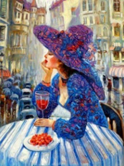 """Картина по номерам RSB8379_O 40*50см """"Дама с вином"""" OPP (холст на раме с краск.кисти)"""