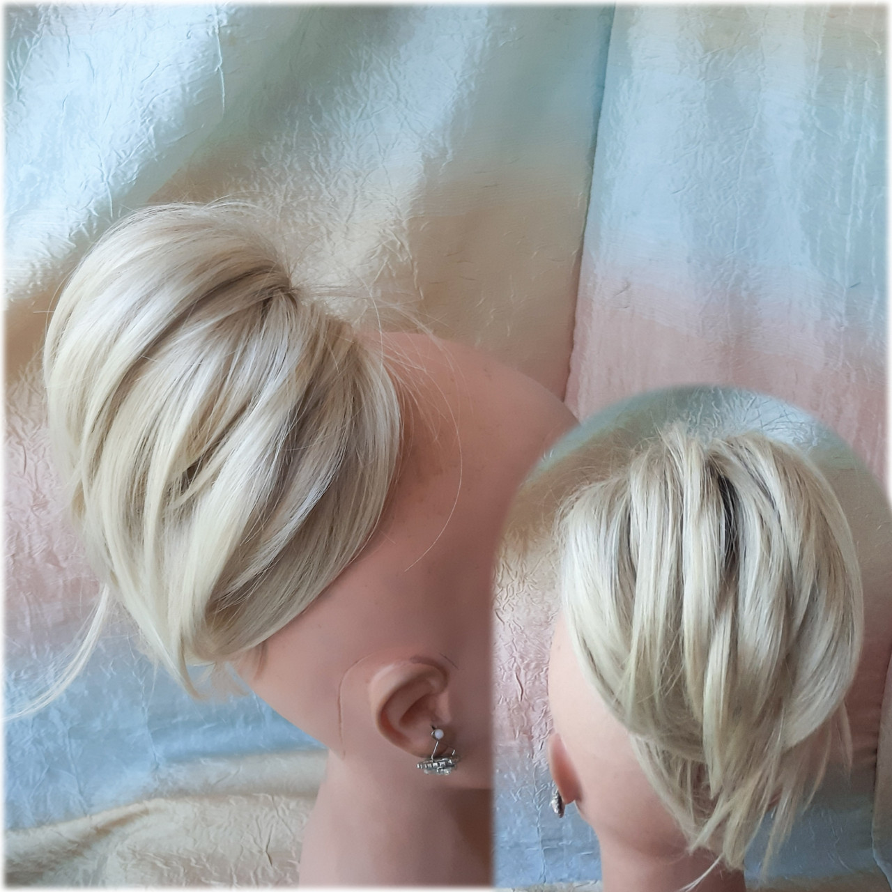 """Хвост короткий """"рожки"""" на крабе платиновый блонд  6454А -15ВT613"""