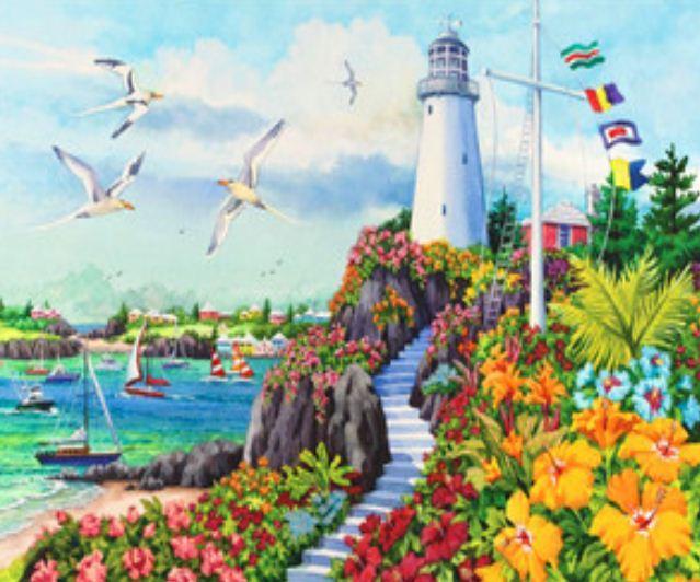 """Картина по номерам RSB8161_O 40*50см """"Маяк и чайки"""" OPP (холст на раме с краск.кисти)"""