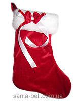 Новогодний Рождественный сапожок для подарков красный