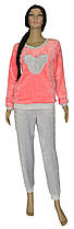 Пижама махровая подростковая для девочки 20032 Girl Минни Маус вельсофт Розовая с серым
