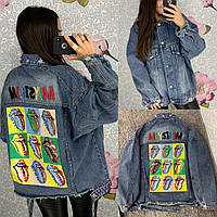 Женская джинсовая куртка с рисунком на спине Graffiti Lips