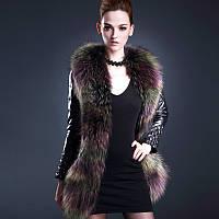 Женский пуховик средней длины с воротником из меха енота, тонкая куртка, кожаная
