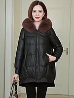 Женский кожаный пуховик с воротником из лисьего мех ,средней длины, пальто трапециевидной формы