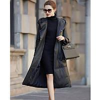 Женский кожаный пуховик на утином пуху, пальто средней длины