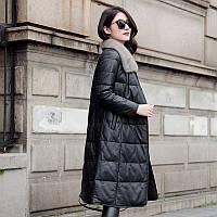 Кожаный пуховик женский средней длины кожаная куртка с норковым воротником