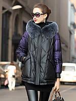 Кожаная женская куртка пуховик из овечьей кожи, с капюшоном