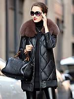Осенне-зимний кожаный пуховик женское пальто средней длины