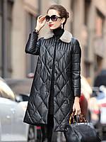 Женский пуховик из натуральной кожи , женская куртка с меховым воротником