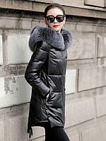 Зимний кожаный пуховик, большого размера, с капюшоном