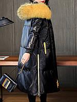 Женский кожаный пуховик средней длины, модная меховая куртка с капюшоном 2 цв