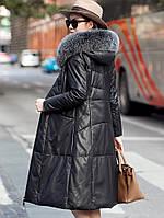 Женский пуховик, кожаная куртка большого размера с капюшоном, толстое пальто