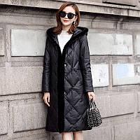 Модный зимний кожаный пуховик с капюшоном , женская куртка окантовка из норки