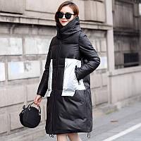 Модное зимнее утепленное пальто из кожи, кожаный пуховик, женская куртка