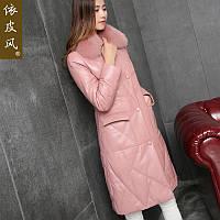 Кожаный пуховик женский зимний ,пальто со съемным воротником