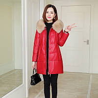 Кожаный пуховик, женская куртка с воротником из лисьего меха