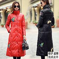 Зимняя кожаная куртка женская длинная вышитая ,красный пуховик больших размеров