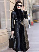 Модный кожаный пуховик, женская куртка с мехом норки