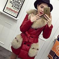 Зимний пуховик из кожи с лисьим мехом, женская куртка