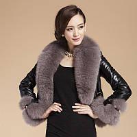 Кожаная куртка женская короткая ,меховая из лисы с большим меховым воротником 5 цветов